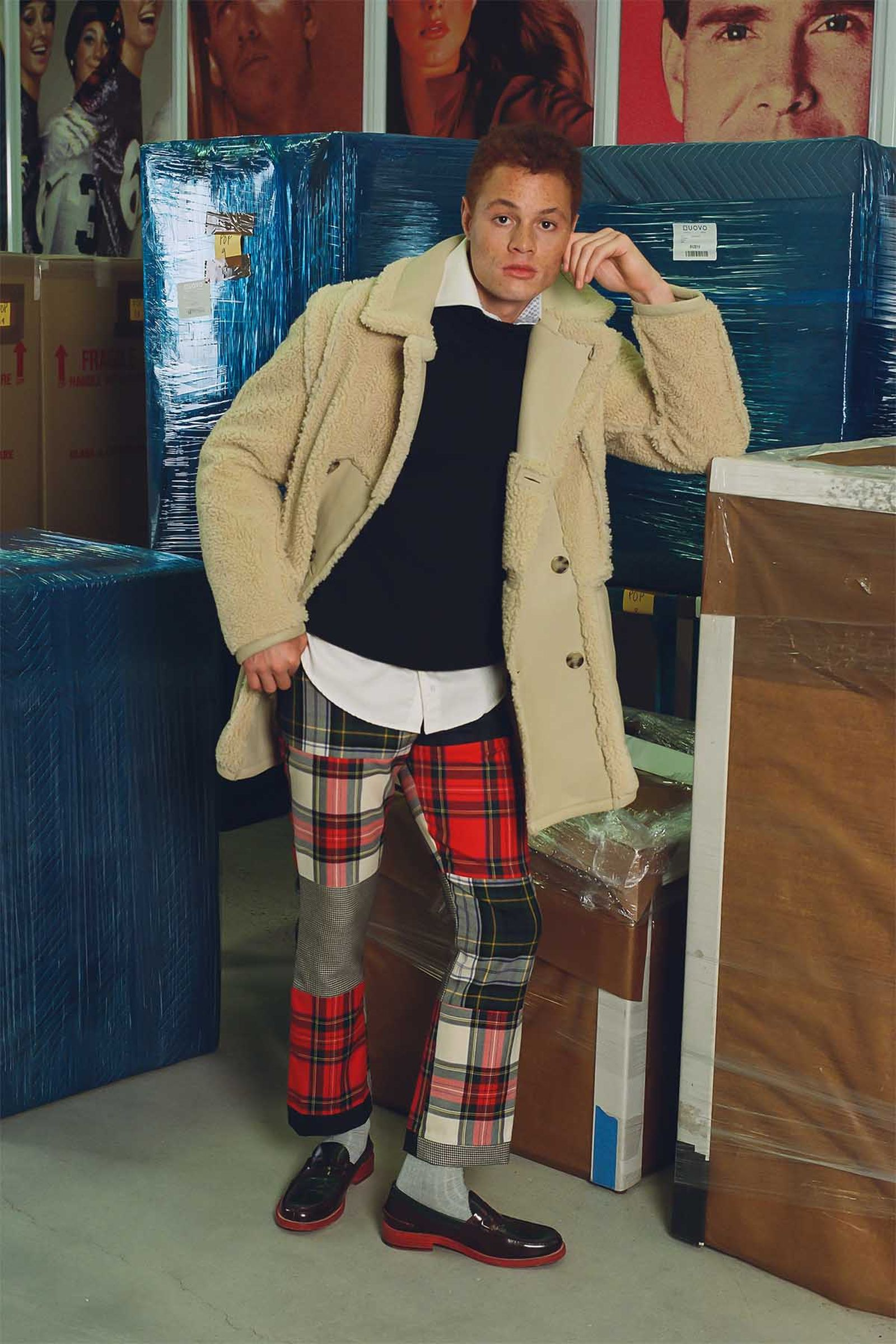 Hilfiger Collection Men's Reversible Shearling Coat (Fall 2020), Tommy Hilfiger Men's Shoal Sweater (Holiday 2003), Tommy Hilfiger Collection Men's Cotton Pique Shirt (Fall 2008), Tommy Hilfiger Collection Men's Flare Leg Tartan & Houndstooth Patchwork Pant (Fall 2000), Tommy Hilfiger Collection Men's Loafers (Spring 2012)