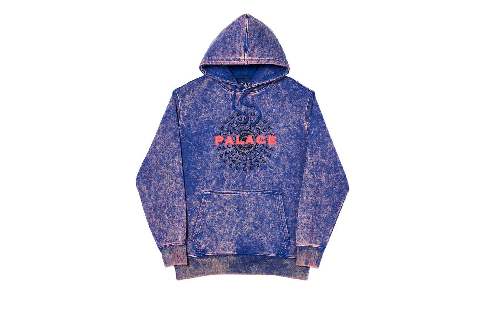 Palace 2019 Autumn Hood Piricle Acid Wash Blue Front