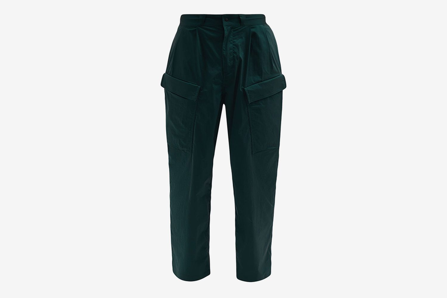 Pleated Tumbled-Twill Cargo Trousers