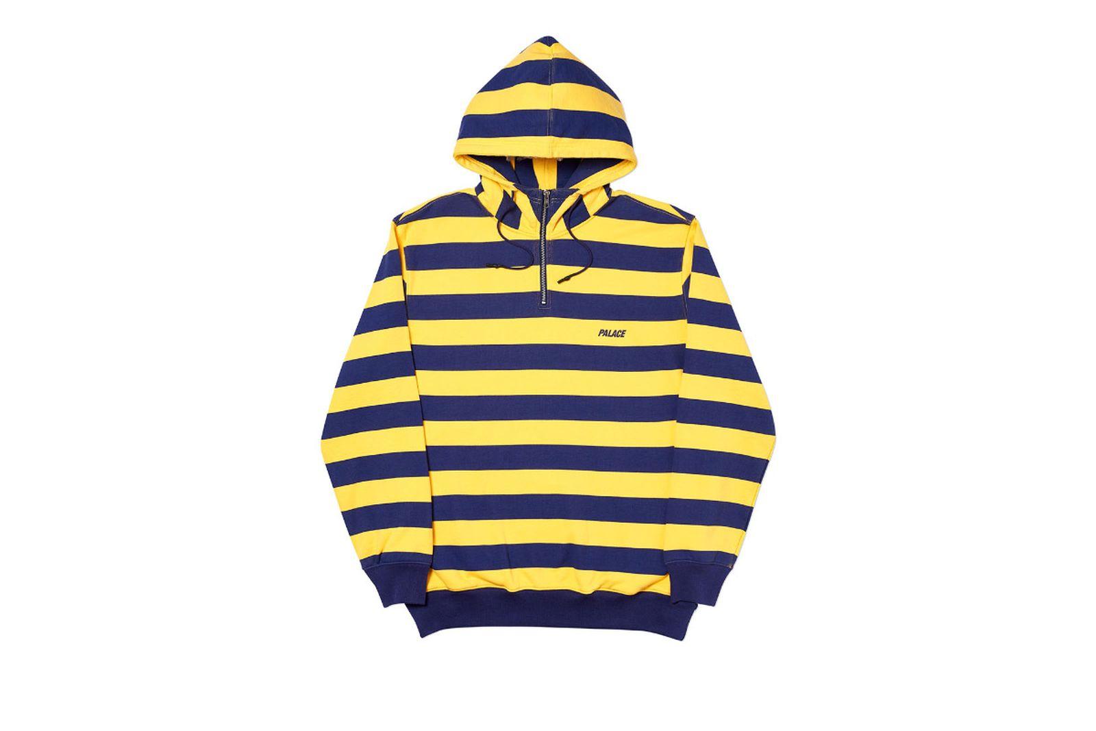 Palace 2019 Autumn Hood Tri Stripe Zip Yellow Front