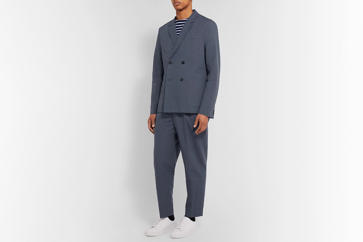 Unstructured Double-Breasted Linen and Cotton-Blend Suit Jacket