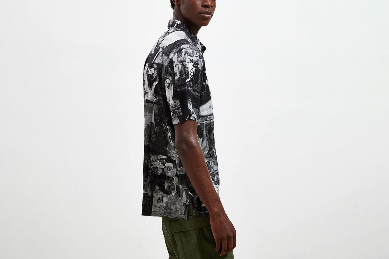 Art Motif Short Sleeve Button-Down Shirt