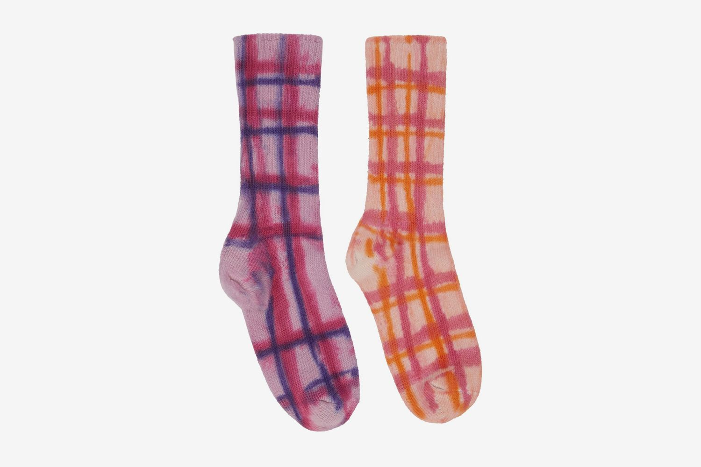 Check Hand-Dyed Socks