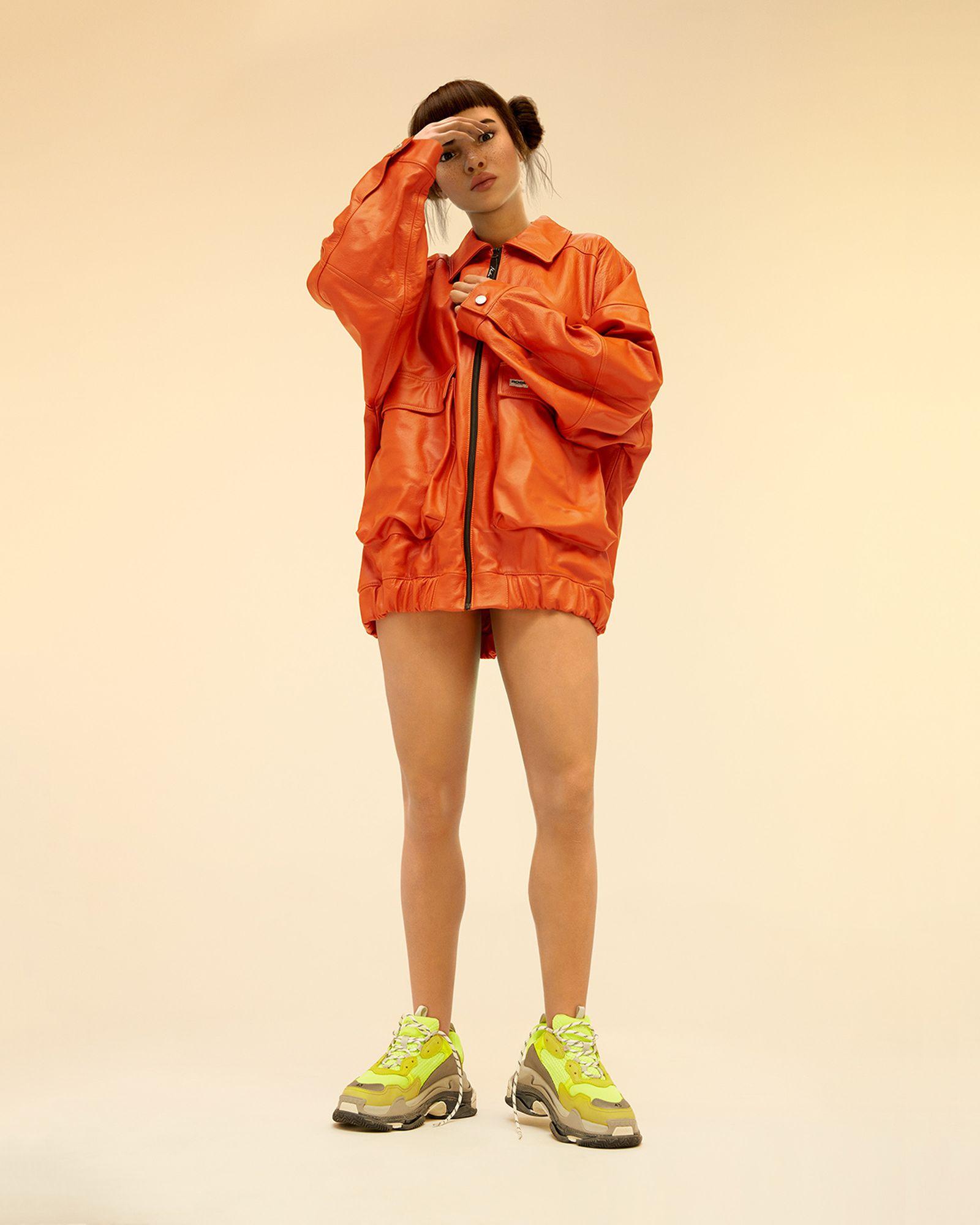 Jacket - MARTINE ROSE, Sneakers - BALENCIAGA.