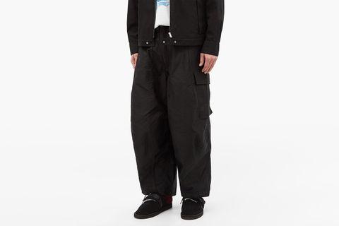 Cotton-Twill Wide-Leg Cargo Trousers