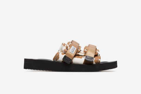 Cow Print Calf Hair And Sheep Skin Sandals