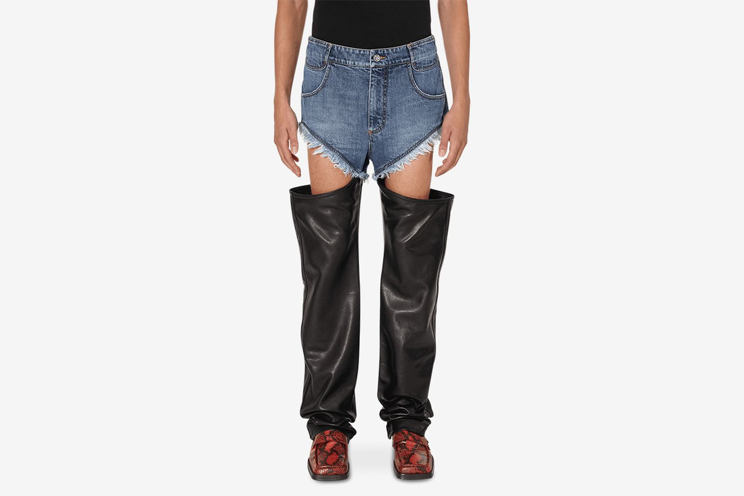 Leather Thigh-Hole Jeans