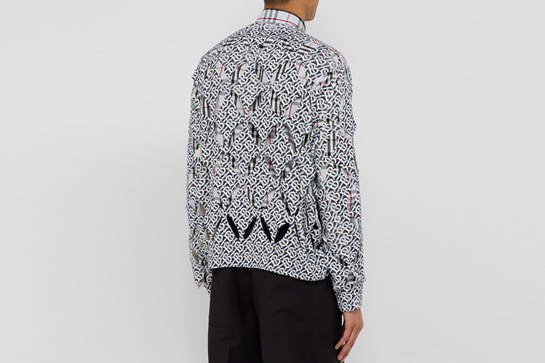 Monogram-Print Cut-Out Silk Sweater