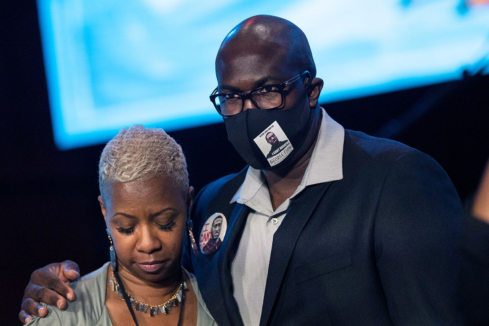 Philonise Floyd, brother of George Floyd, embrace each other during a memorial service