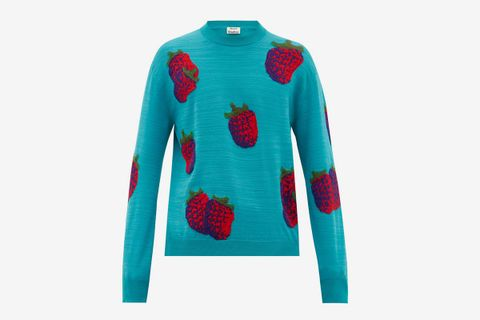 Koray Intarsia-Raspberry Wool-Blend Sweater