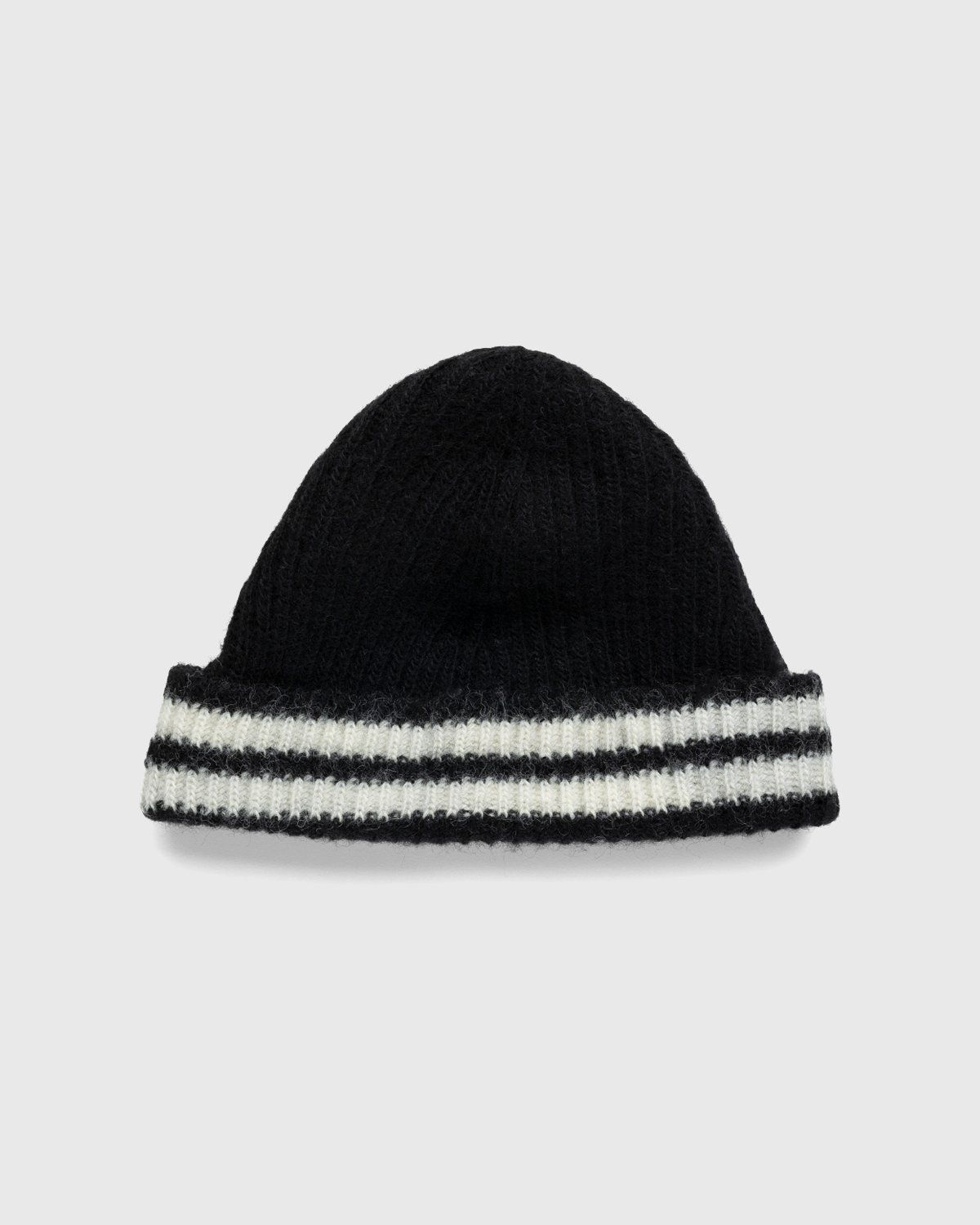 Our Legacy – Knitted Stripe Hat Black Ivory Wool - Image 1