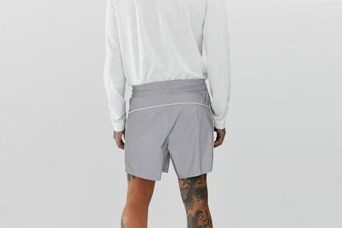 Slim Shorts In Iridescent Reflective Fabric With Piping