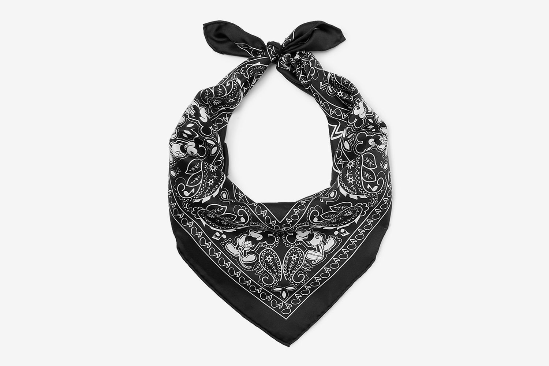 Mickey Mouse Printed Silk-Twill Bandana