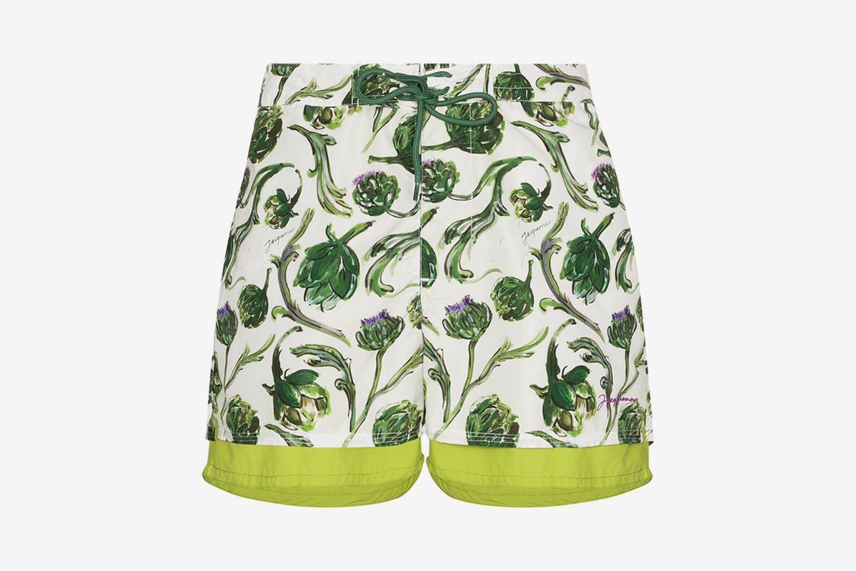 Le Double Maillot Artichoke-Print Swim Shorts