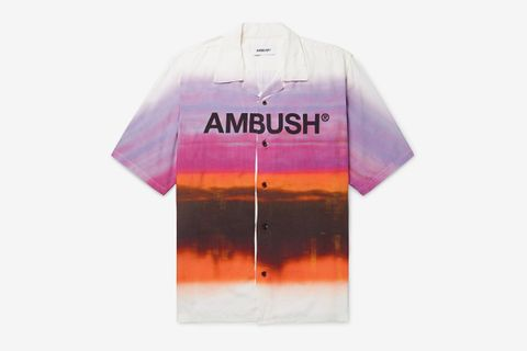 Camp-Collar Logo-Print Tie-Dyed Woven Shirt