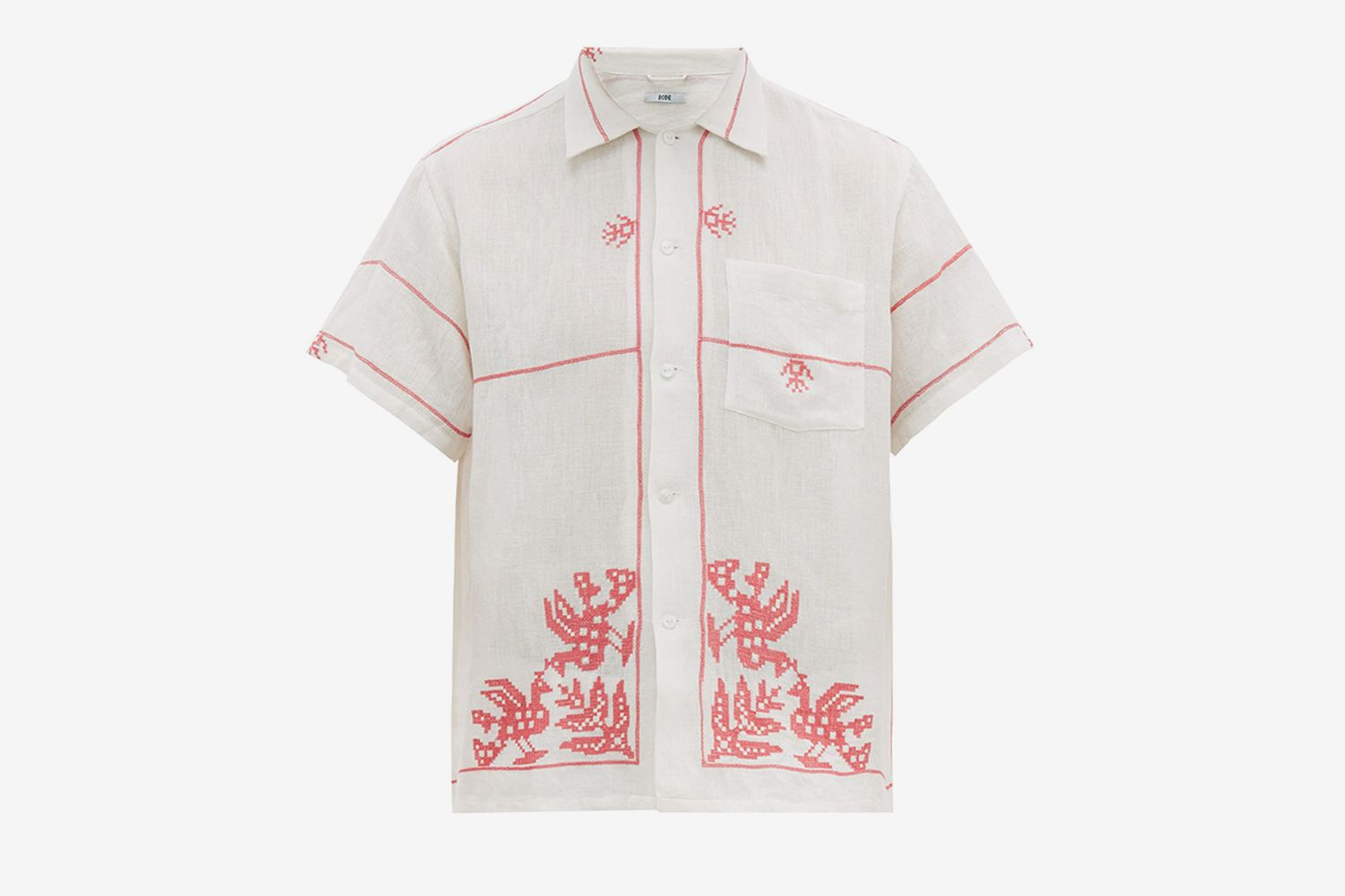 Cross-Stitched Cotton-Muslin Shirt