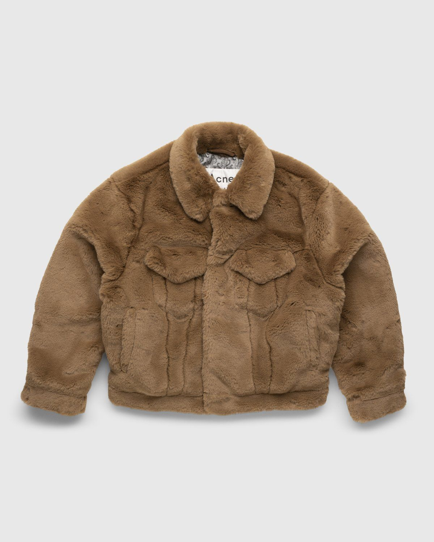 Acne Studios – Boxy Faux Fur Jacket Beige - Image 1