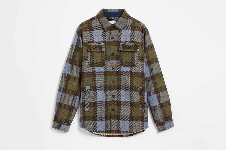 Sherpa-Lined Wool Tartan Overshirt