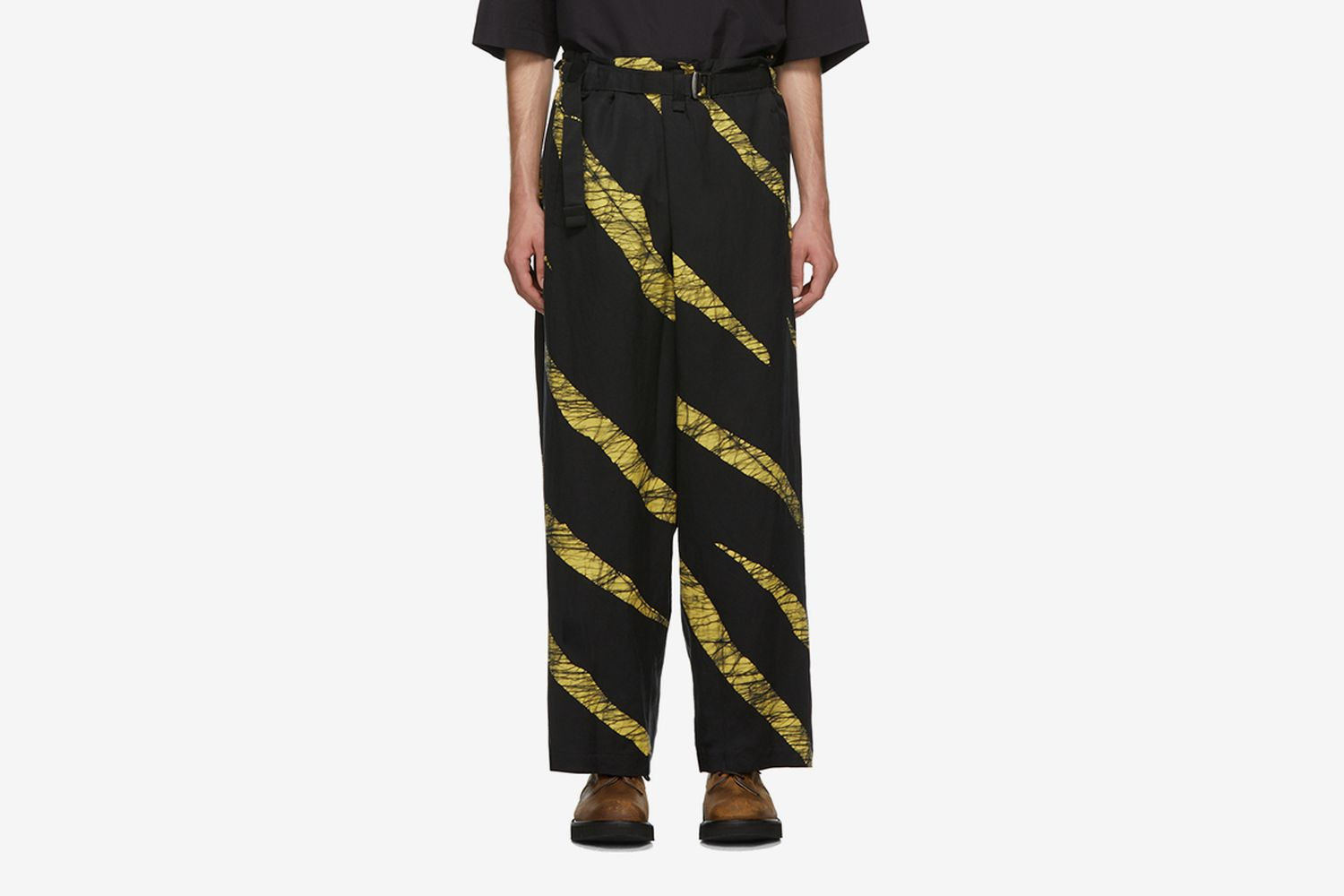 Wind Print Belted Trousers