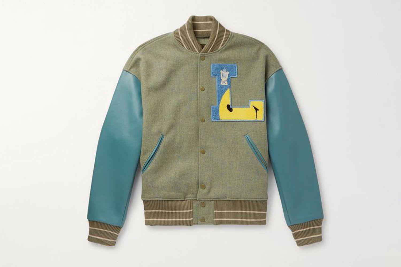 Appliquéd Faux Leather and Wool-Blend Tweed Varsity Jacket