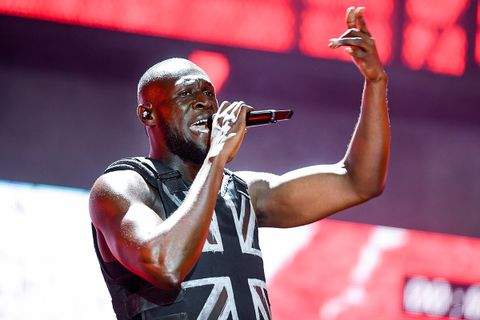 Stormzy performs on the Pyramid stage during day three of Glastonbury Festival at Worthy Farm