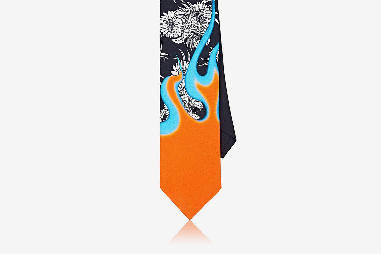 Floral & Flames Silk Faille Necktie