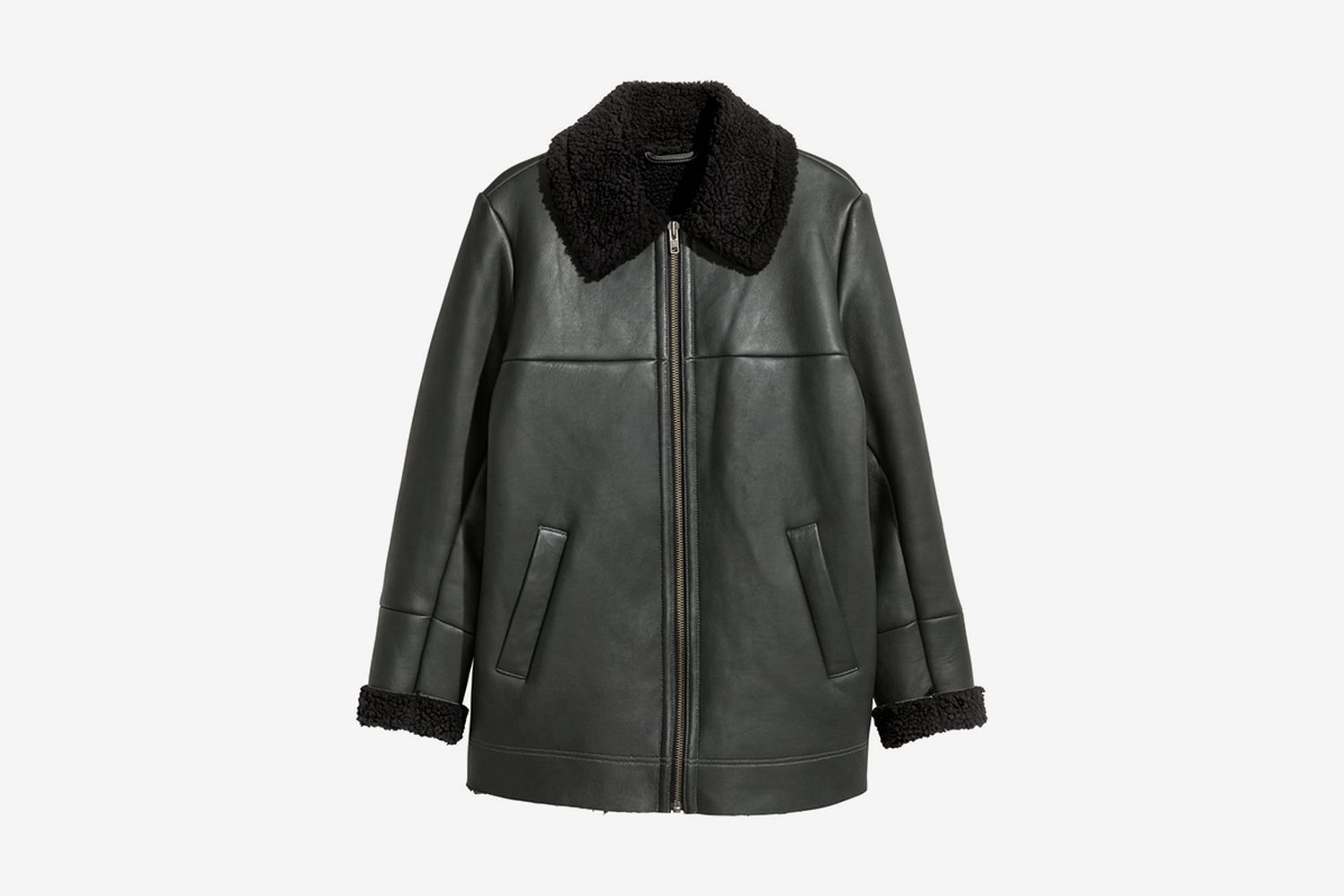 Pile-Lined Leather Jacket
