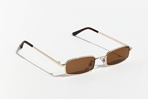 New Metal Rectangle Sunglasses - Brown at Urban Outfitters