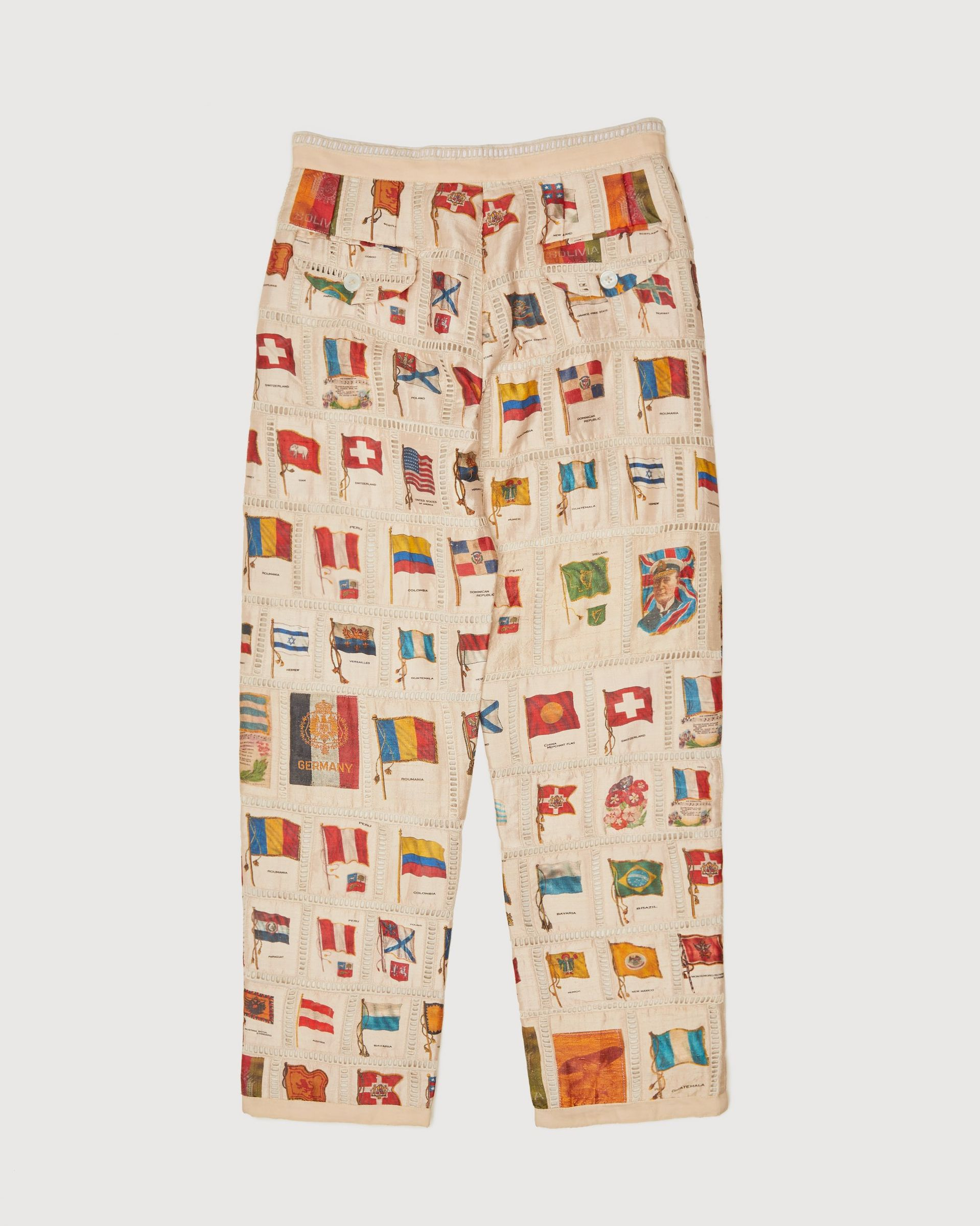 BODE - Tobacco Flag Patchwork Trousers Natural - Image 2