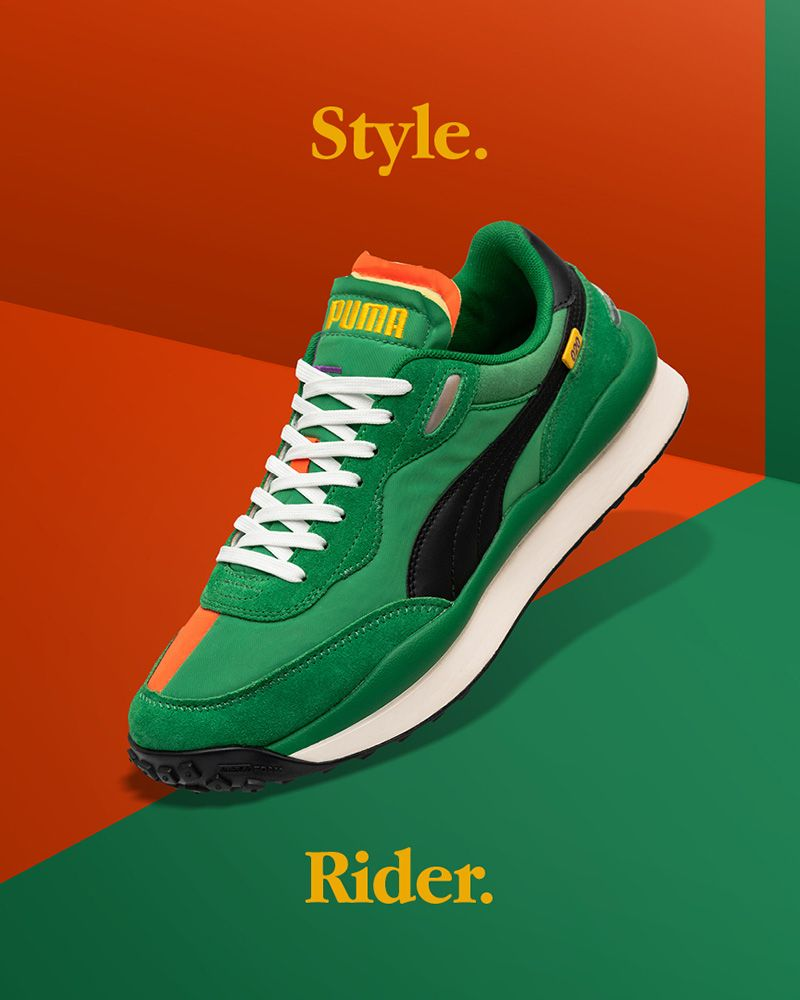 Orange and green Style Rider PUMA shoe
