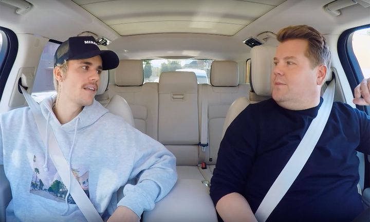 Justin Bieber and James Corden in Carpool Karaoke