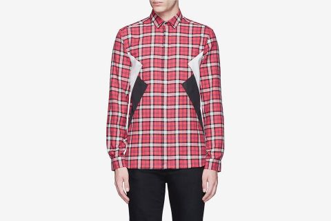 Colorblock Tartan Plaid Shirt