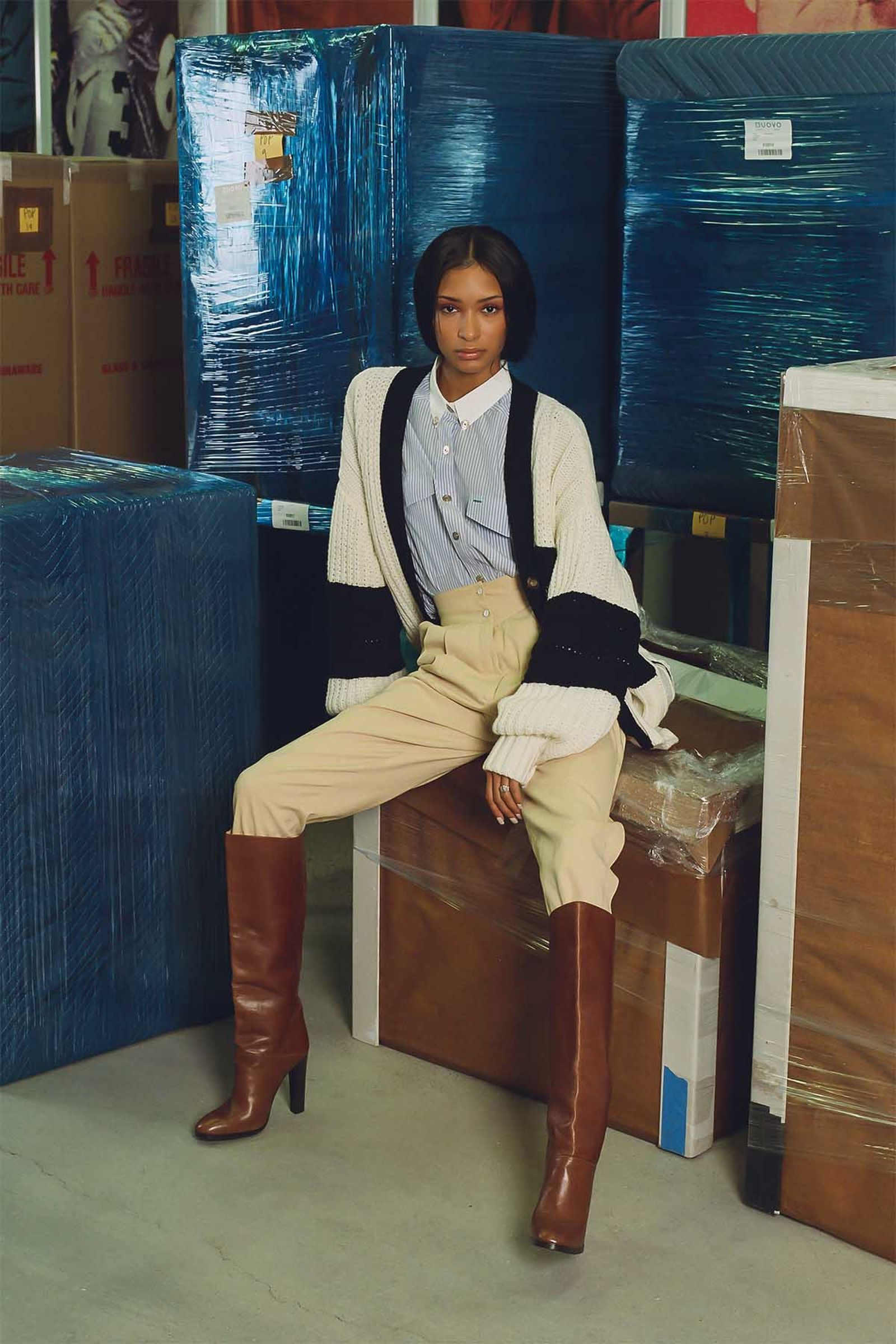 Hilfiger Collection Women's Letterman Cardigan and Heritage Shirt (Fall 2020), Tommy Hilfiger Women's Cropped Wool Pleat Trousers (Fall 1982), Tommy Hilfiger Collection Women's Leather Knee-High Boots (Fall 2009)