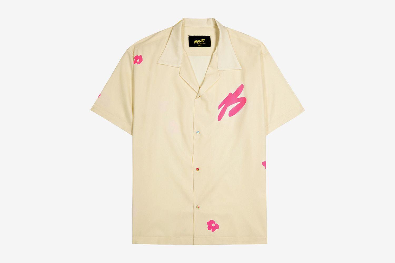 Cream Metallic-Weave Printed Shirt
