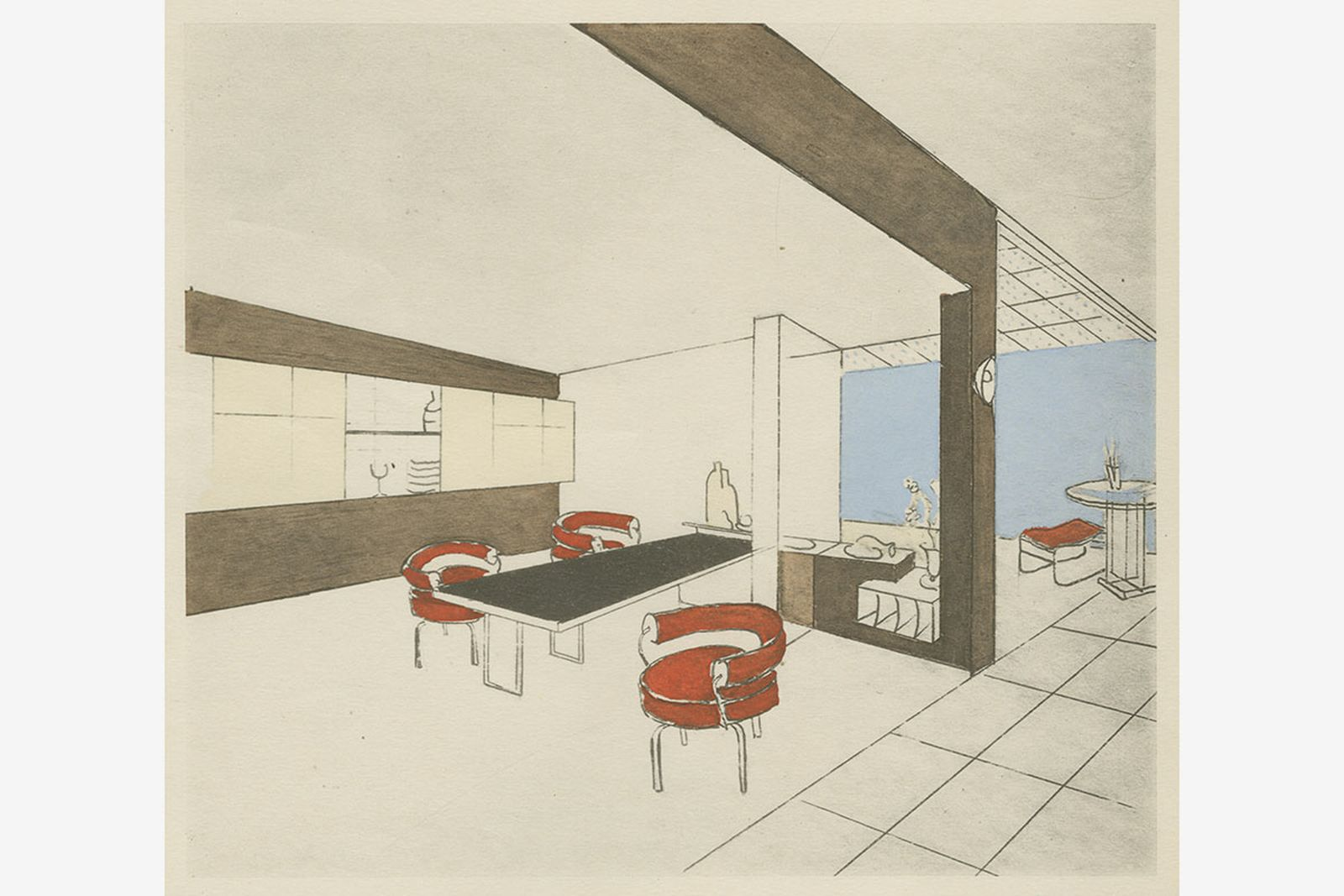 Charlotte Perriand dining room sketch