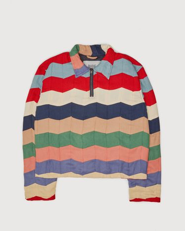 BODE - Chevron Quilt Zip Pullover Multi