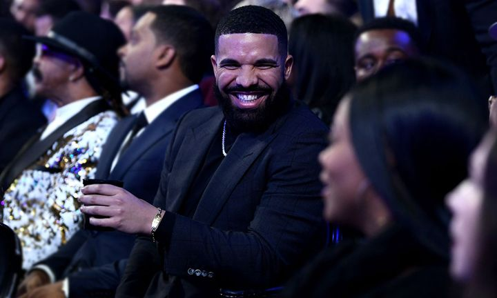 drake laughing at 61st Annual Grammy Awards