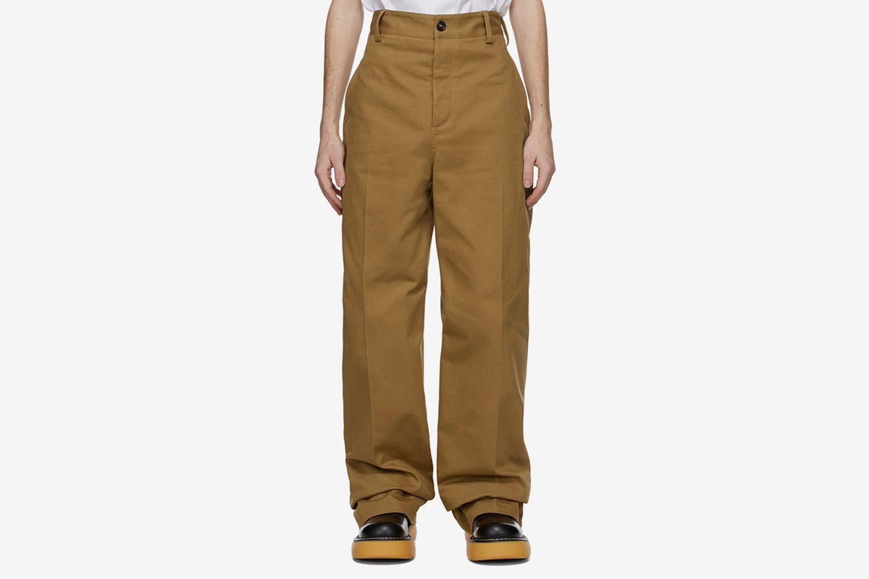 Tan Cotton Twill Trousers
