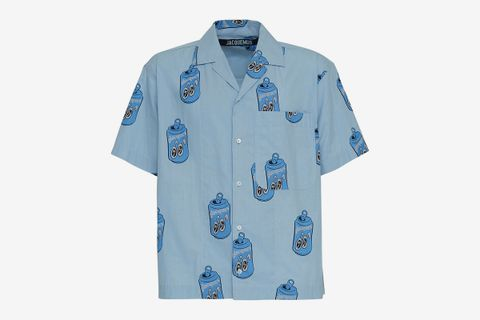 Can Print Cotton Bowling Shirt