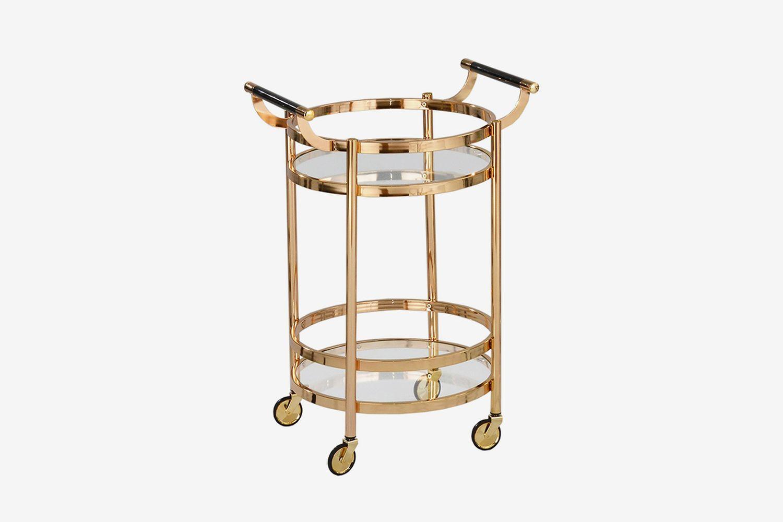 Small Round Wheeled Bar Cart