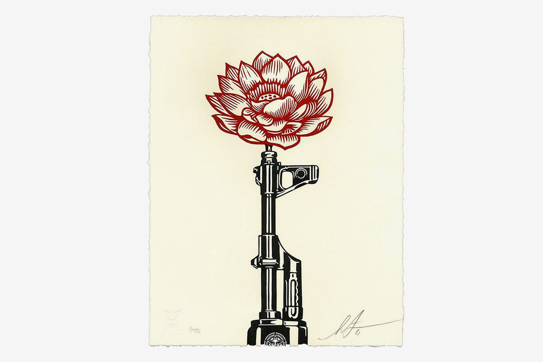 AK-47 Lotus Letterpress Print