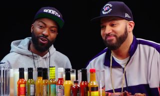 """Desus & Mero Share Funny Story About Kanye West & Explain """"J. Cole Is Trash"""" on 'Hot Ones'"""