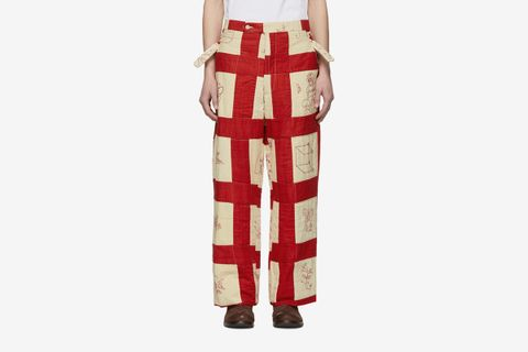 Patchwork Side Tie Trousers