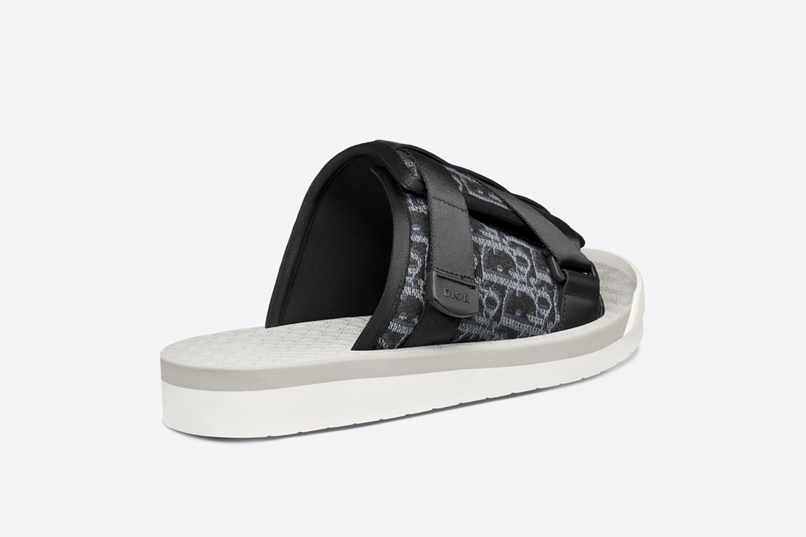 Oblique jacquard sandal beige and black