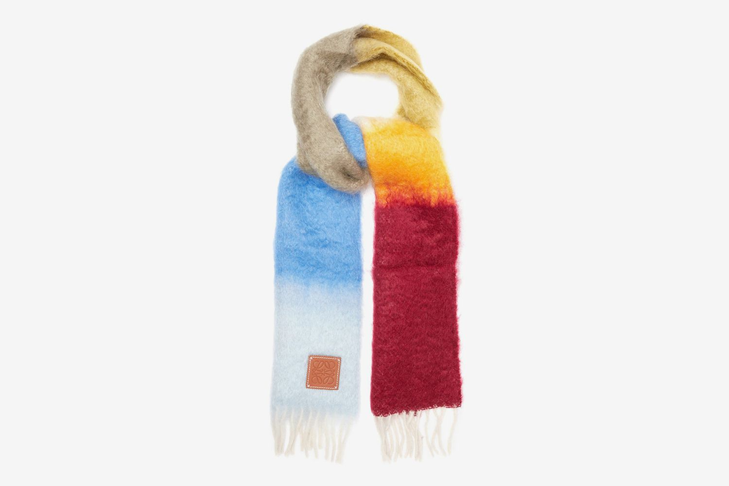 Striped Brushed Mohair And Wool Scarf
