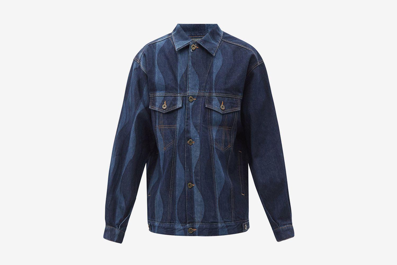 Wave-Print Recycled-Senim Trucker Jacket