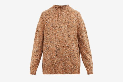 Crew Neck Tweed Wool Blend Sweater