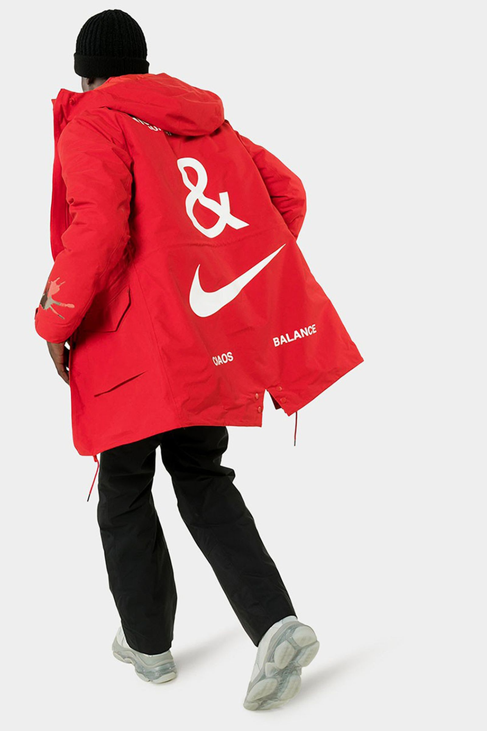 UNDERCOVER x Nike red Fishtail Logo Print Parka