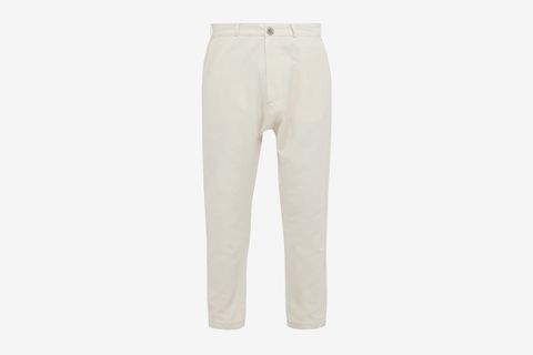 Tapered-Leg Cotton-Blend Trousers