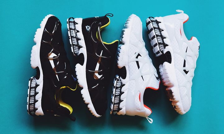 stussy x nike air zoom spiridon caged 2 kk black and white colorway